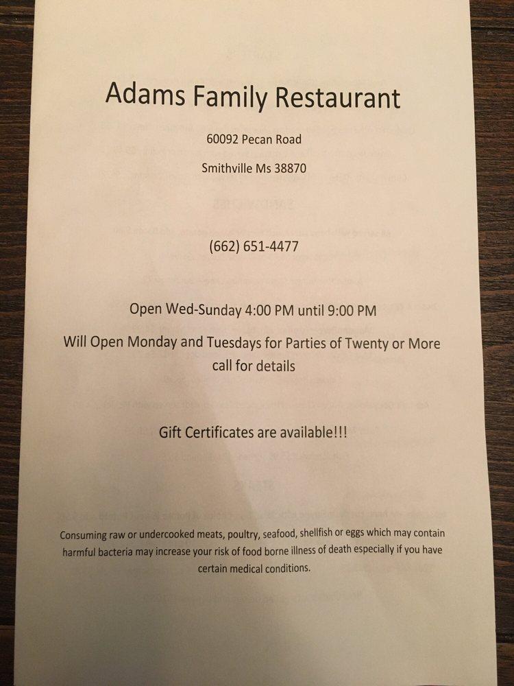 Adam's Family Restaurant: 60092 Pecan Rd, Smithville, MS