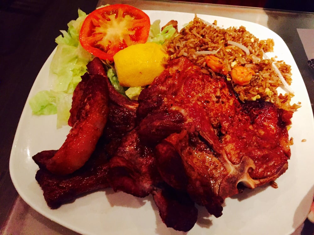 Pork chop combo with fried rice and salad yelp for Jardin de china