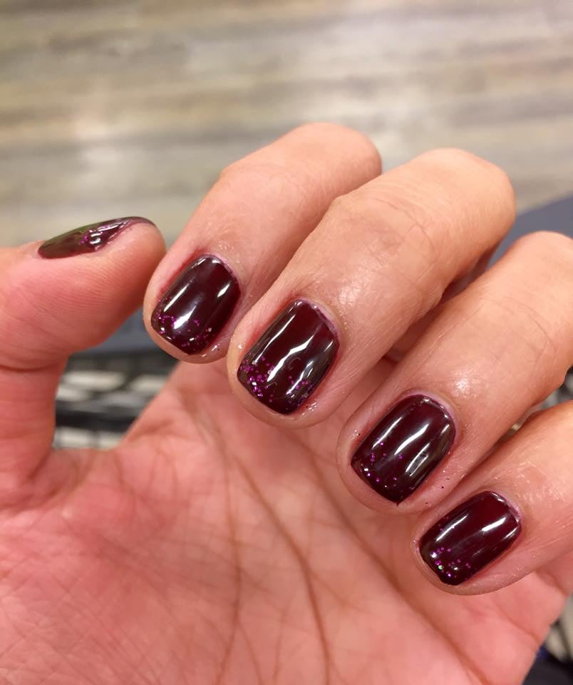 Pretty gel color top with subtle glitters yelp for Euphoria nail salon