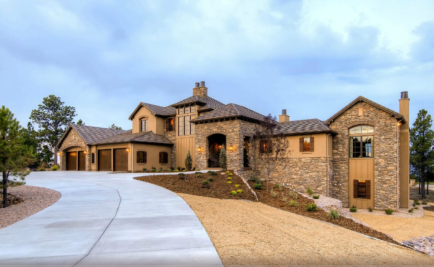 Custom copperleaf home multi levels stone stuckel and for Homes with 4 car garages