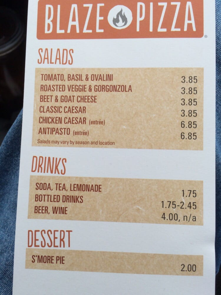 Blaze Pizza Salads Drinks S More Pie Yelp