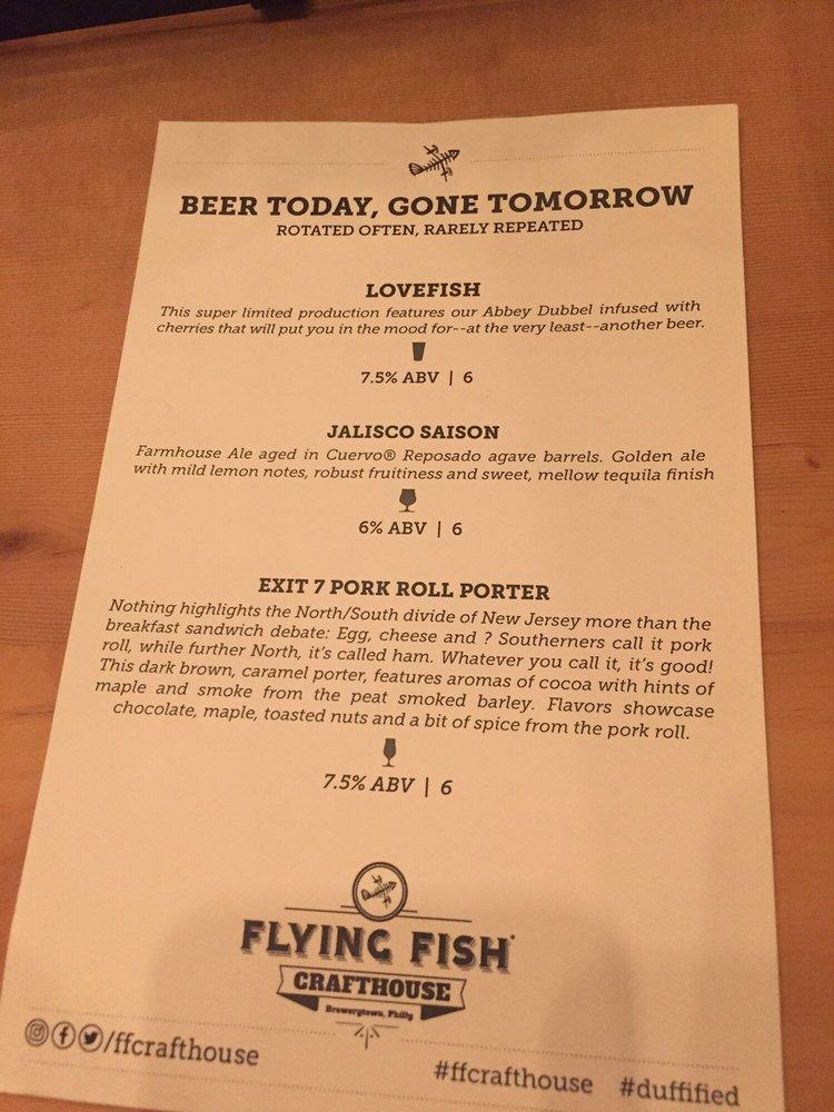 Special beer menu 12 23 16 yelp for The flying fish menu