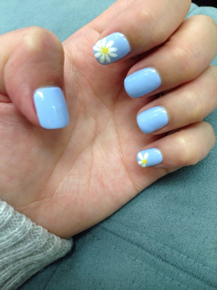 Periwinkle gel nails with daisy design and yellow glitter - Yelp
