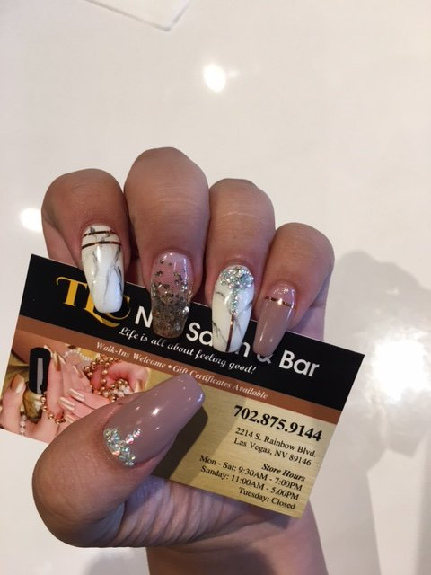 Love My Acrylics With Marble Design Ribbons And Rhinestones Yelp