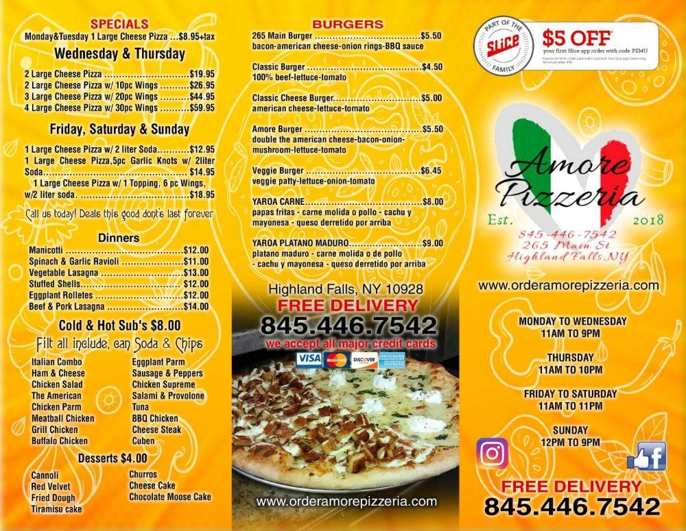 Amore Pizzeria: 265 Main St, Highland Falls, NY