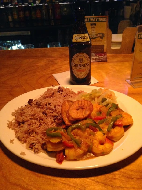 Curry shrimp with cabbage rice and peas plantains and a for Authentic jamaican cuisine