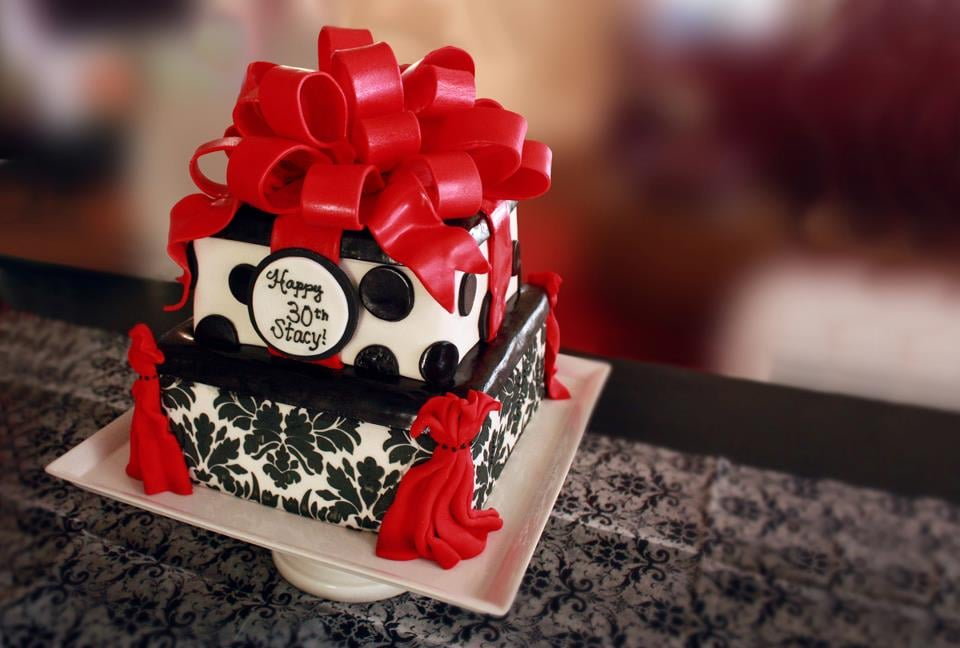 Beautiful Damask Black White Red Birthday Cake Yelp