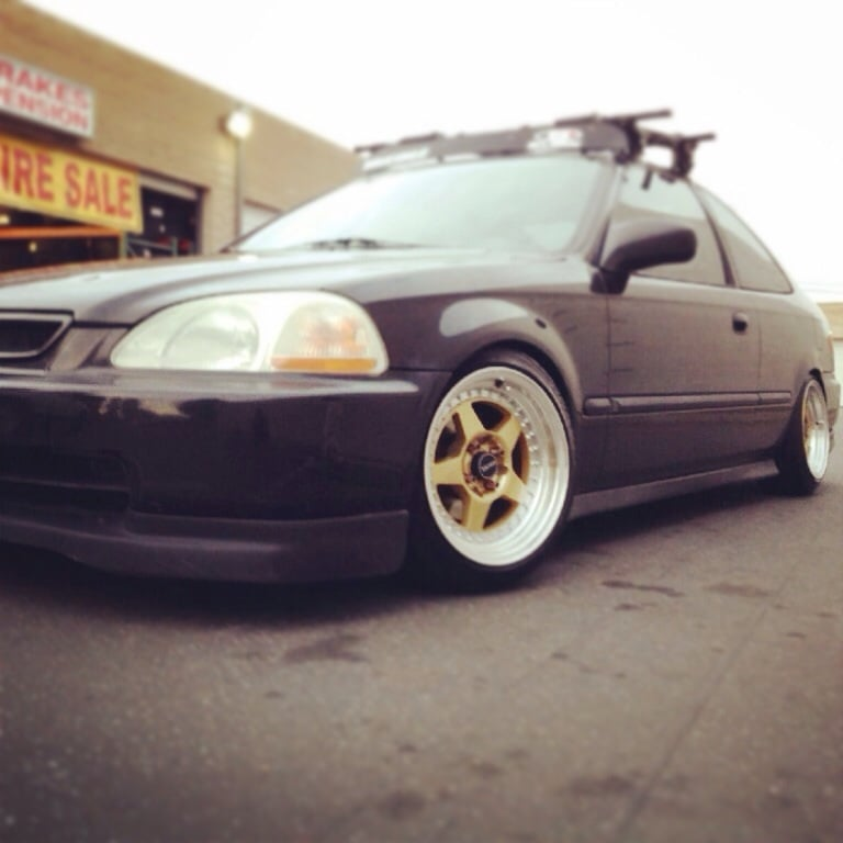 15x8 Drag Racing Wheels On Honda Civic Lowered Jdm Style