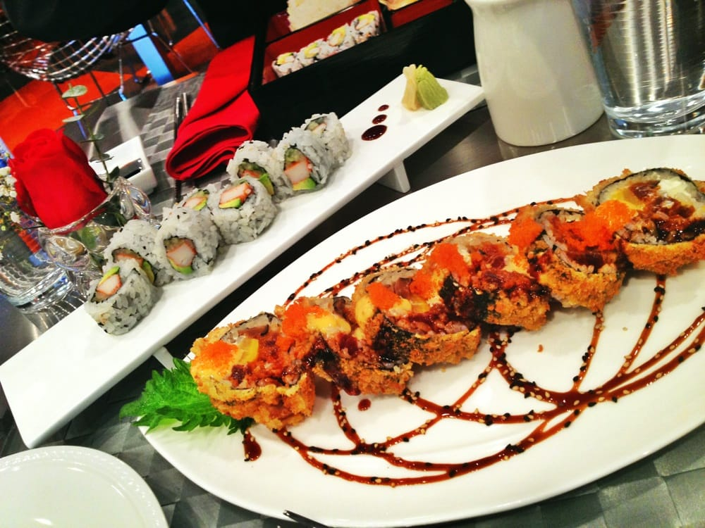 Beautiful plating! California Rolls and my favorite roll ...