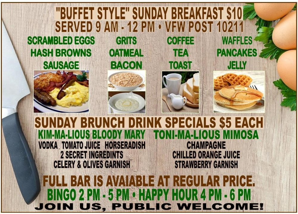 Sunday Buffet Style Breakfast * Sunday Brunch Drink Specials ...