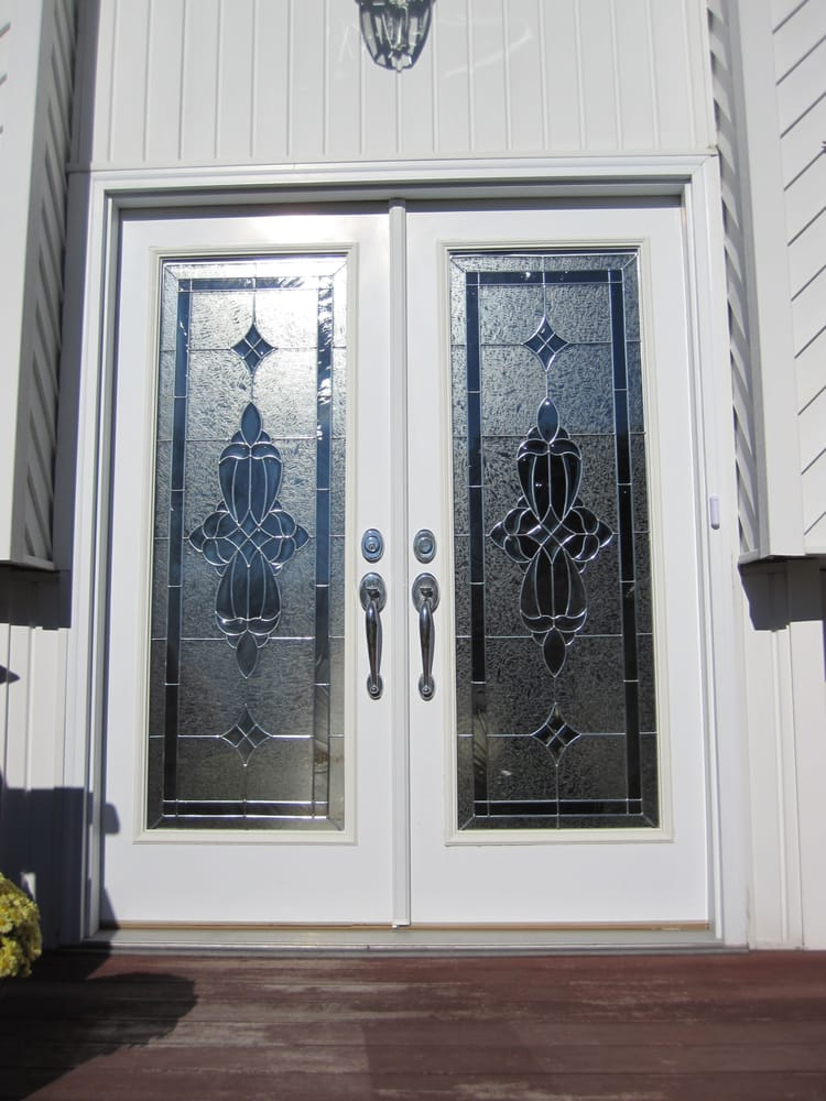 Double Entry Royal Fiberglass Door In White With Designer