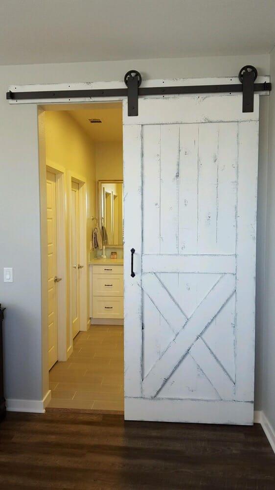 Distressed White Barn Door & Hardware separating master ...