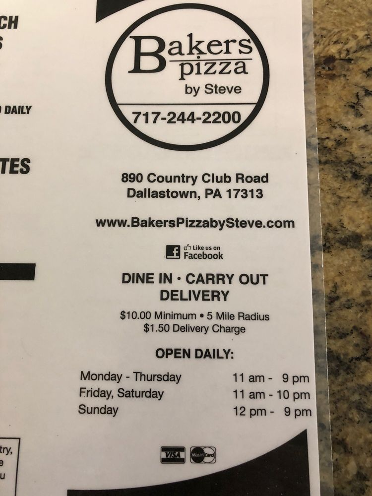 Baker's Pizza: 890 Country Club Rd, Dallastown, PA