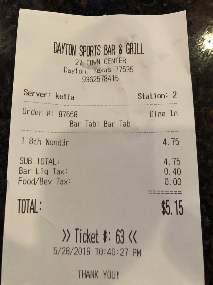 Dayton Sports  Bar N Grill: 401 W Clayton St, Dayton, TX