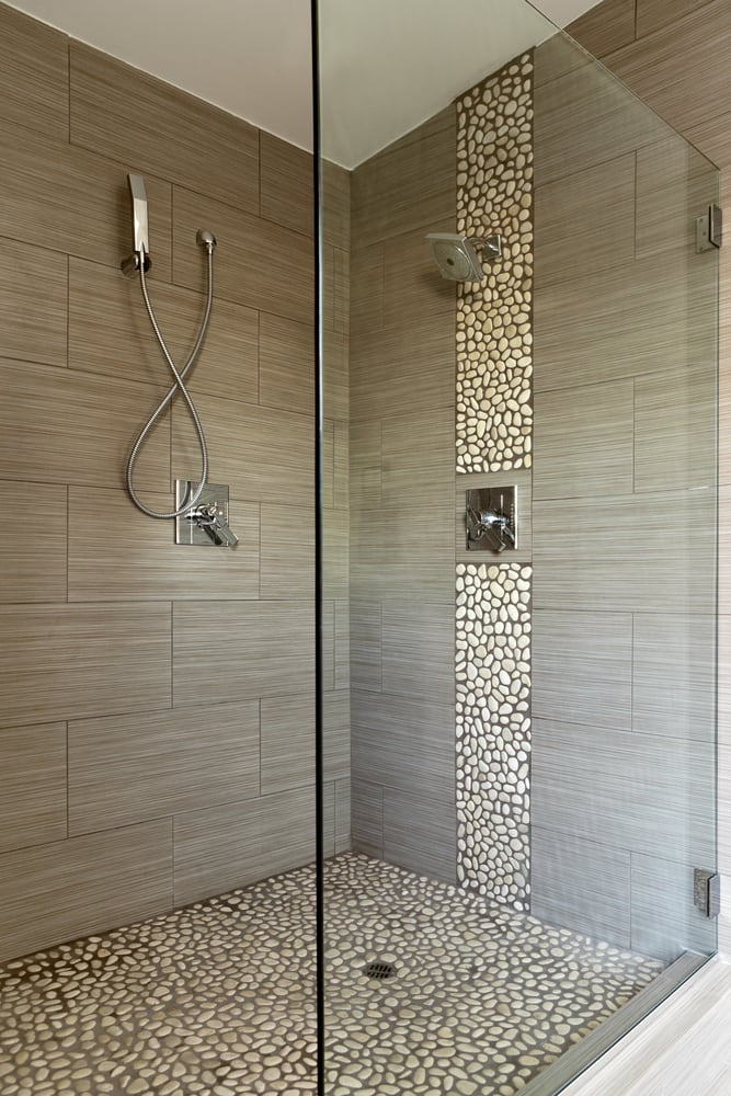 Tiled Shower with Stone Floor and Accent Wall - Yelp