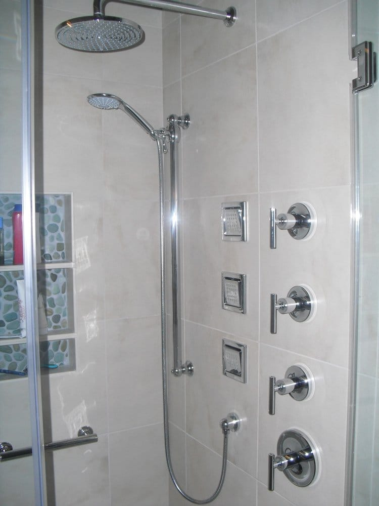 Beautiful kohler shower with three in wall adjustable body for Body spray shower systems