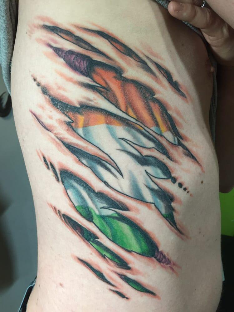 Irish Flag Skin Tear Tattoo By Darl Gnau Yelp