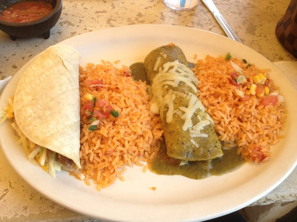 2 item combo chicken enchilada and carnitas soft taco for Acapulco loco authentic mexican cuisine