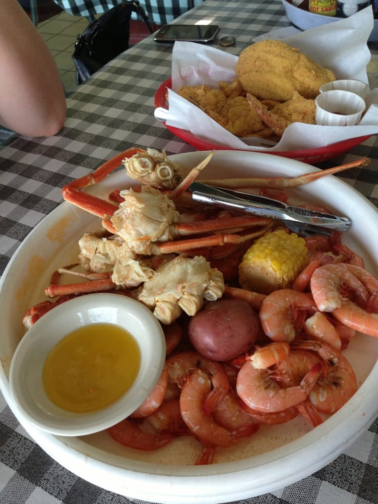 Boiled shrimp and crab with some fried catfish hush for Flying fish addison