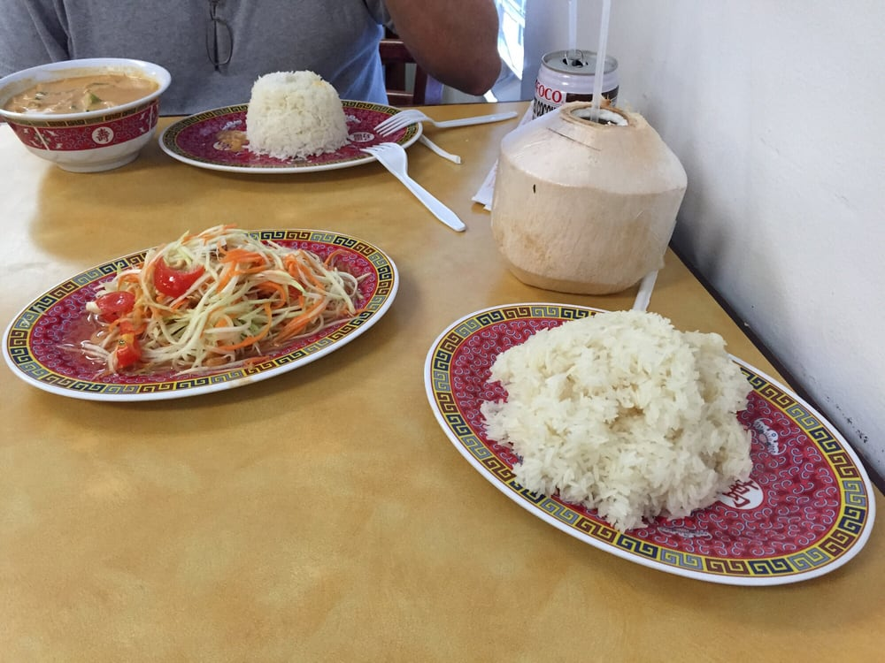 Papaya salad with sticky rice and fresh coconut yelp for Ano thai lao cuisine