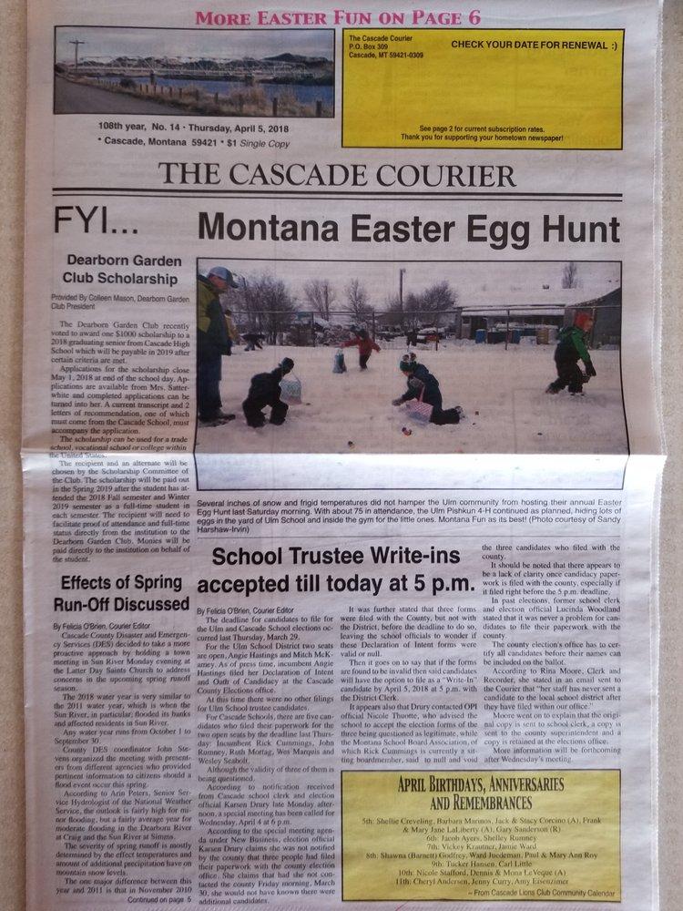 Cascade Courier: 338 2nd St N, Cascade, MT