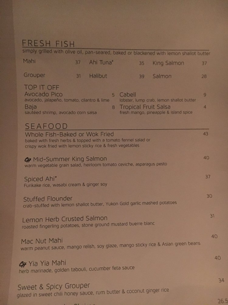 Chart house menu yelp