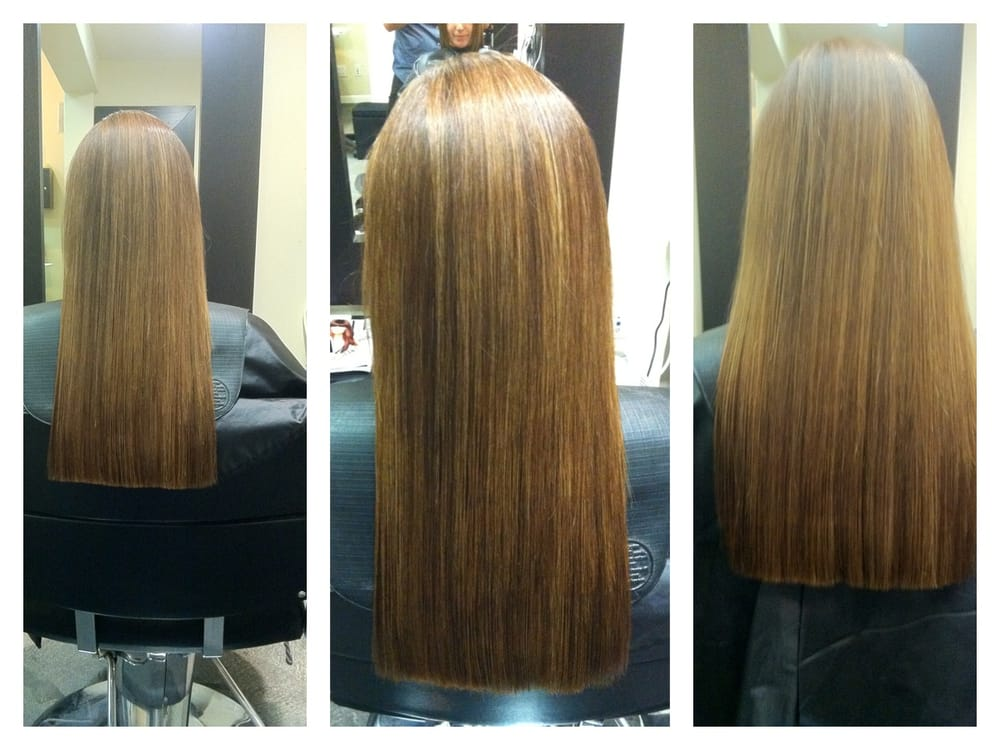 custom color one length strong sleek cut on frizzy natural