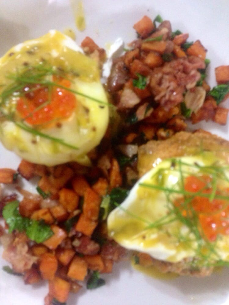 Fried fish polenta cake eggs benedict with sweet potato for Kitchen 713 reservations