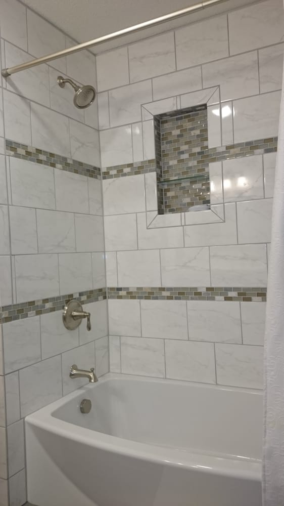 tiling in bathrooms bathroom remodel with glass accent tile shower niche with 14760