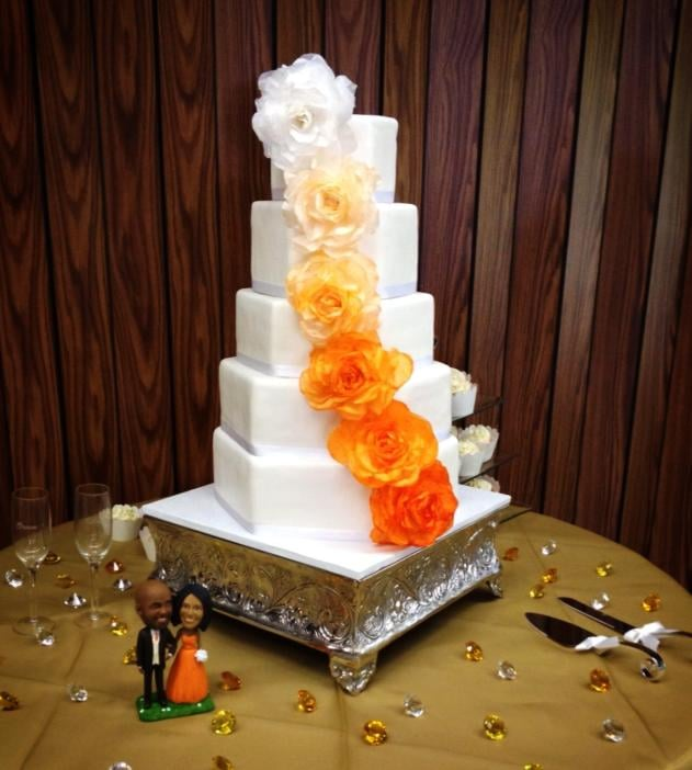 My Wedding Cake 5 Layer Hexagon Custom Silk Flowers Lemon White W