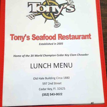 Tony S Seafood Restaurant Cedar Key Menu