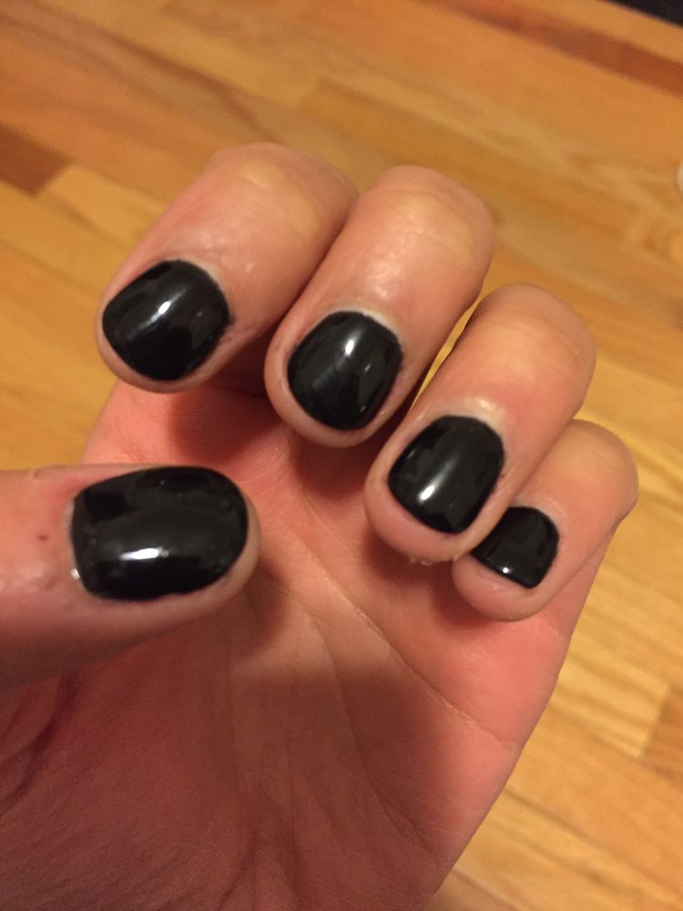 Black color dip manicure on natural nails - Yelp