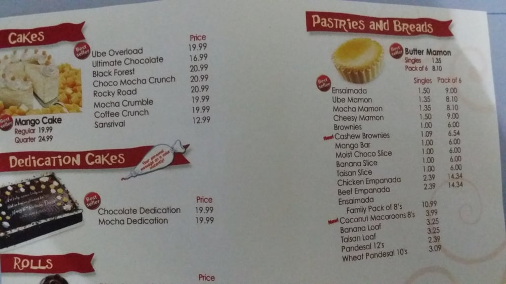Red Ribbon Cake Price List Philippines