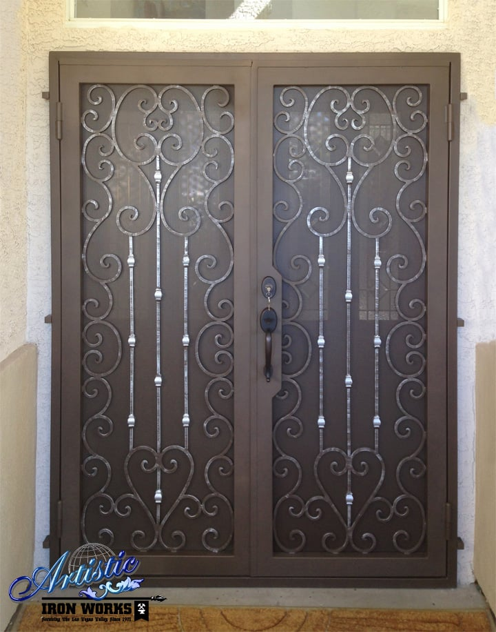 Scrolled wrought iron screen security double doors - Yelp