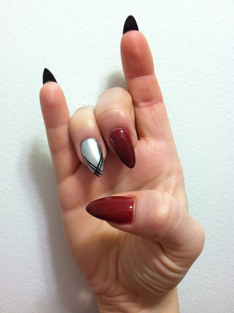 Blood Red (China Glaze) with my fun Silver (Essie) metallic ring ...