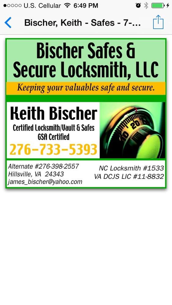 Bischer Safes & Secure Locksmith: Hillsville, VA