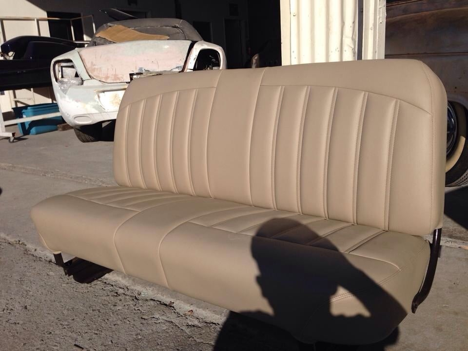 re wrapped bench seat for 1956 ford f100 custom double. Black Bedroom Furniture Sets. Home Design Ideas