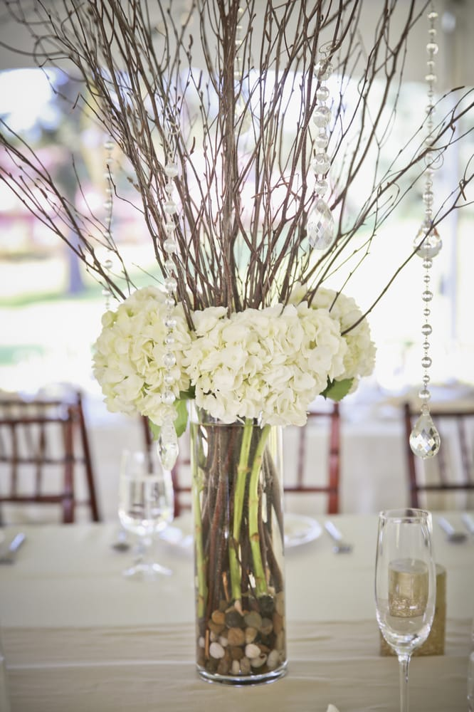 Wedding Centerpiece Cylinder Vase With White Hydrangea Twigs And