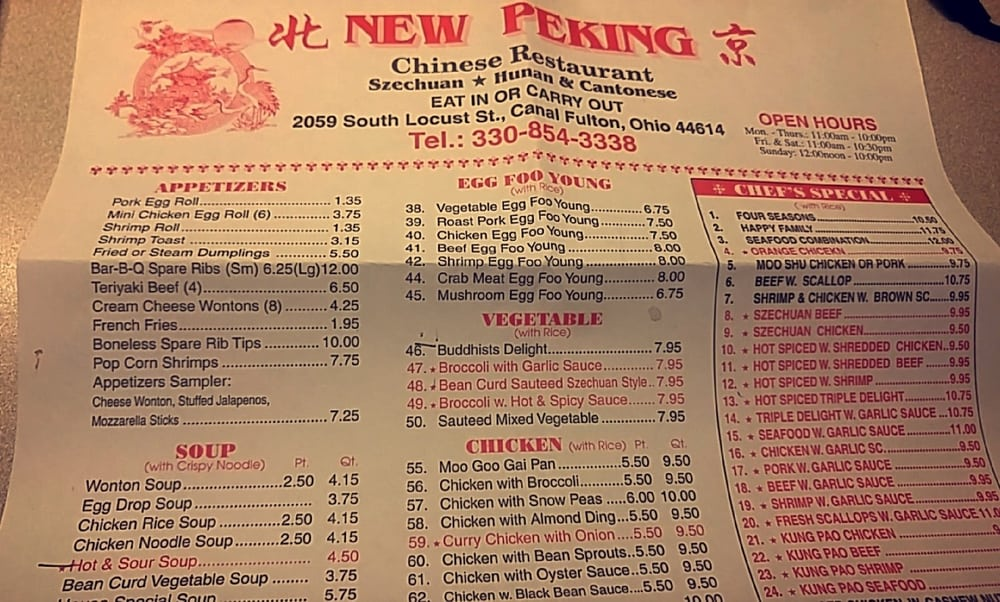 New Peking Chinese Restaurant Canal Fulton Oh