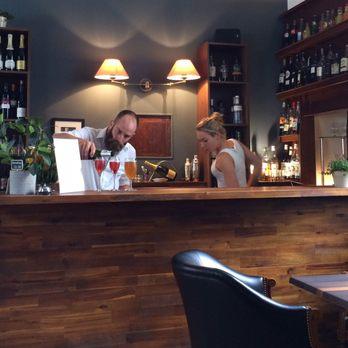 Photo of Restaurant No 8 - Mirepoix, Arige, France. Ben bartending @ No