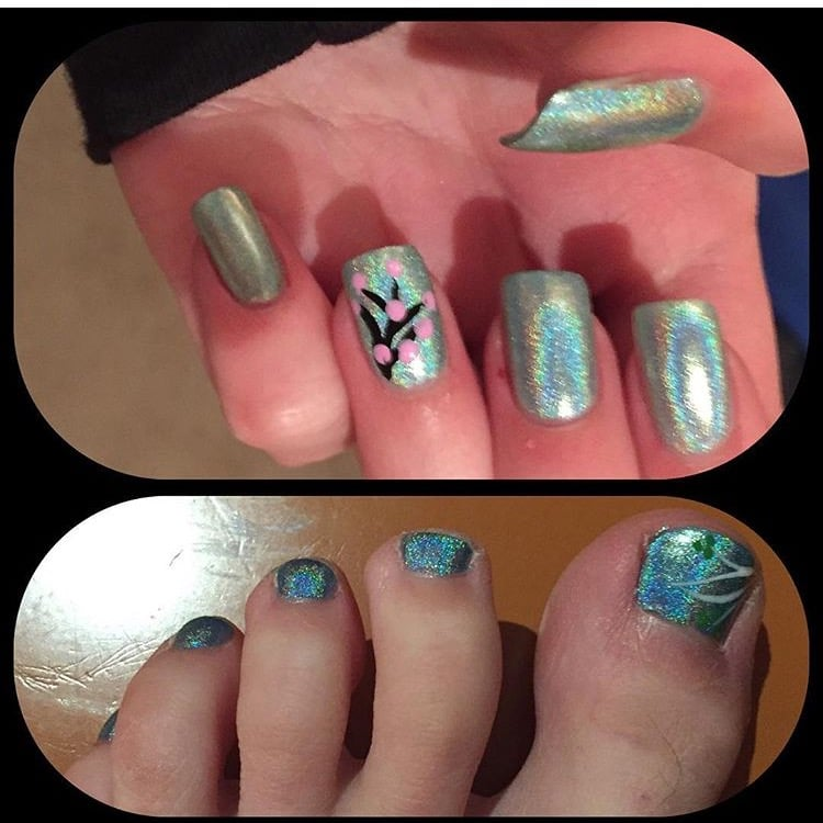 Acrylic Nail Fill ~ Love iridescent colors. Was a mistake to do the ...