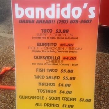 Bandidos Food Truck Menu