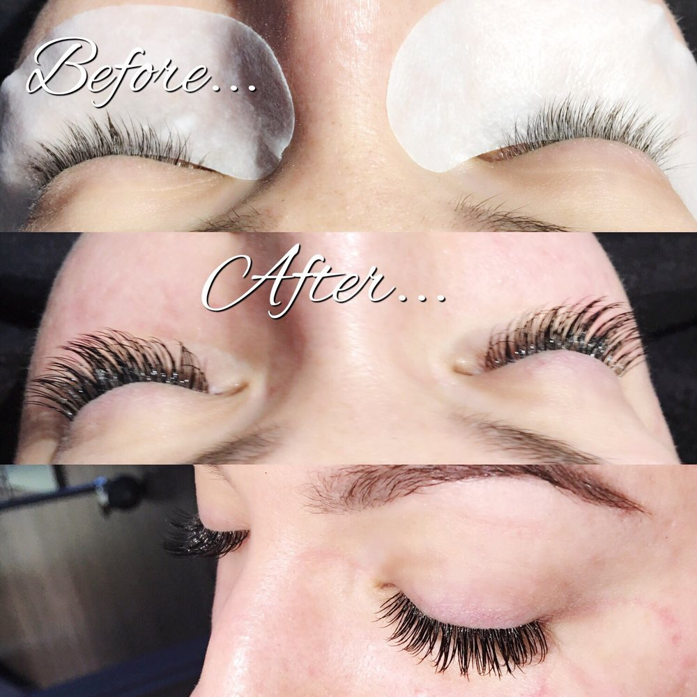 Before And After A Full Set Of Classic Eyelash Extensions Yelp
