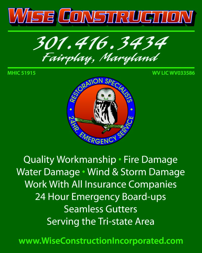 Wise Construction Inc: 16634 Spielman Rd, Fairplay, MD