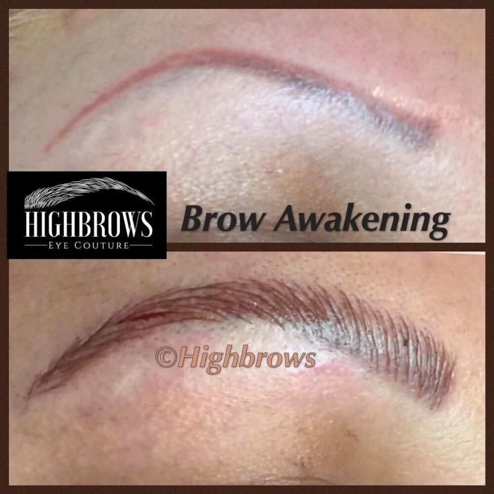 Brow Awakening Microblading To Cover Faded Eyebrow Tattoo And Create