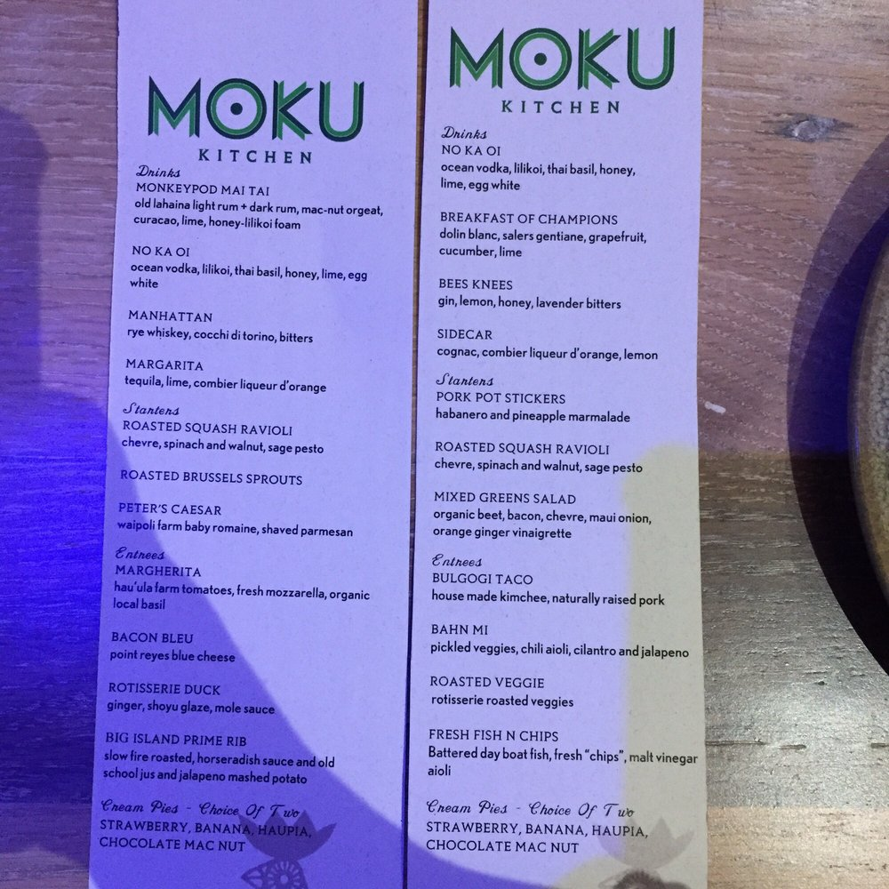 Moku Kitchen Menu soft opening menu - yelp