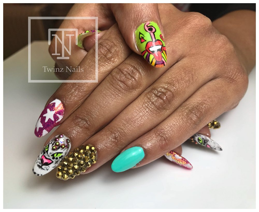 Funky Nail Art Design All Hand Painted Yelp