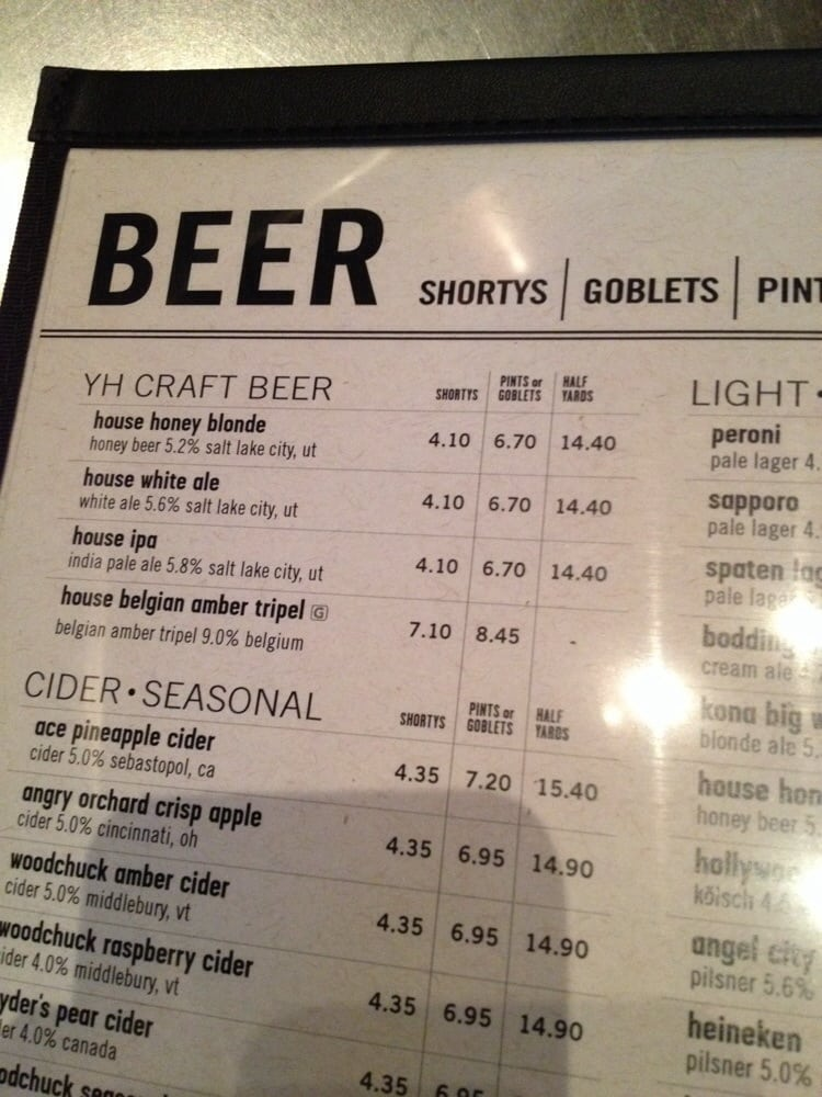Some Of The Beer Prices Yelp