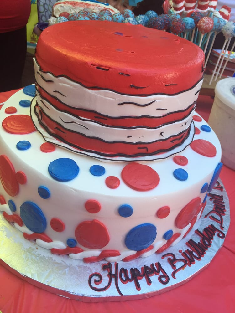 Dr Seuss Birthday Cake Bottom Is Chocolate With Custard And The Top