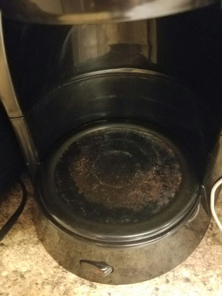 Coffee pot rusted out as well, and has the smell of stale